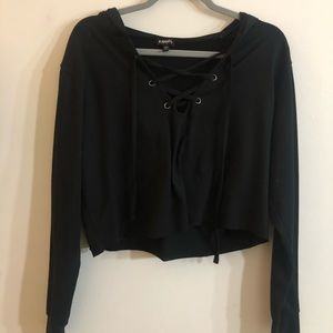 Black lace up Express hoodie! BARELY WORN!
